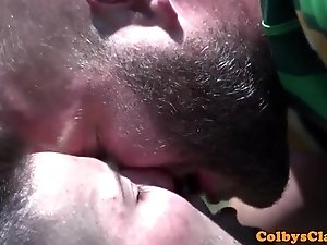 Uniformed rugby hunk assdrilled outdoors