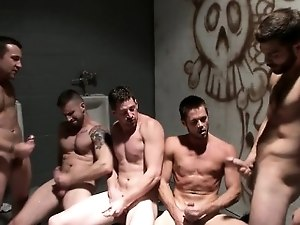 Muscle gay piss and cumshot